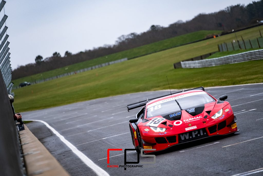 A Lamborghini on the Senna Straight at Snetterton during the Media Day ahead of the British GT Championship season for 2020.
