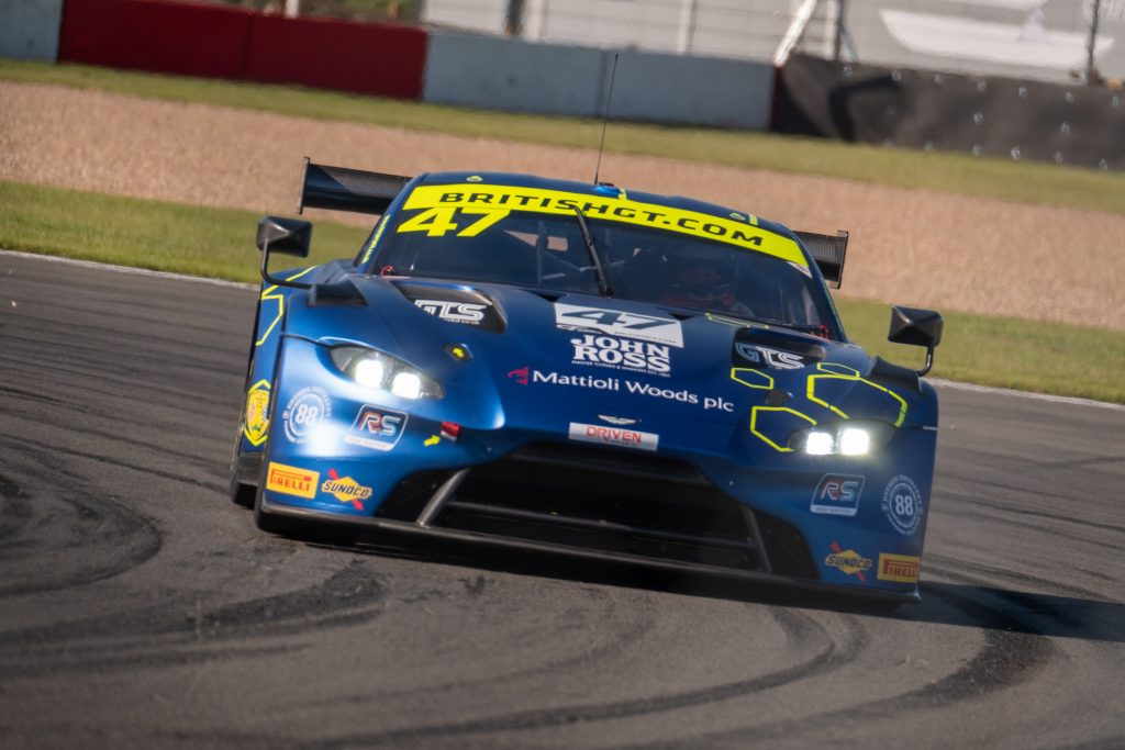 The championship winning Aston Martin V8 Vantage AMR GT3 from the final round of the 2019 British GT Championship