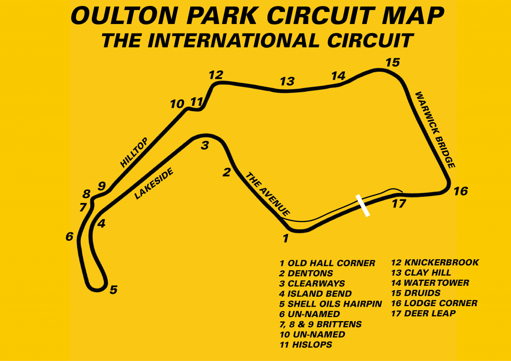 The Oulton Park circuit with corner names.
