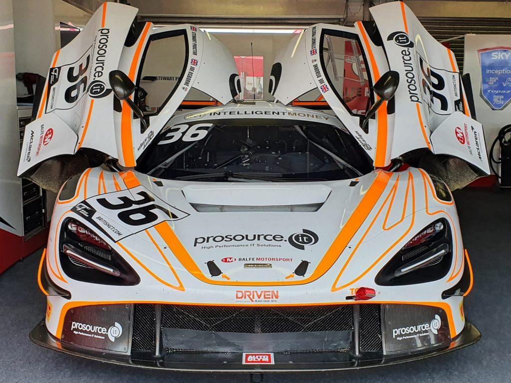 The Balfe Motorsport McLaren 720S GT3 in the garage ready to race.