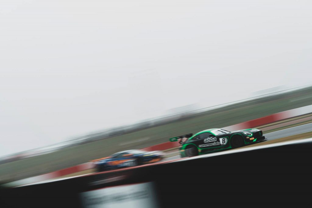 The Team ABBA Racing Mercedes-AMG being chased at Donington Park.