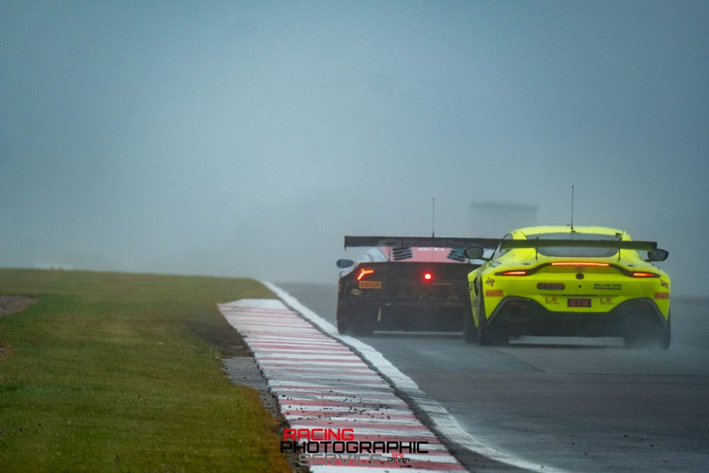 A TF Sport Aston Martin Vantage GT4 tries to keep up with a GT3 car over the Melborne Loop.